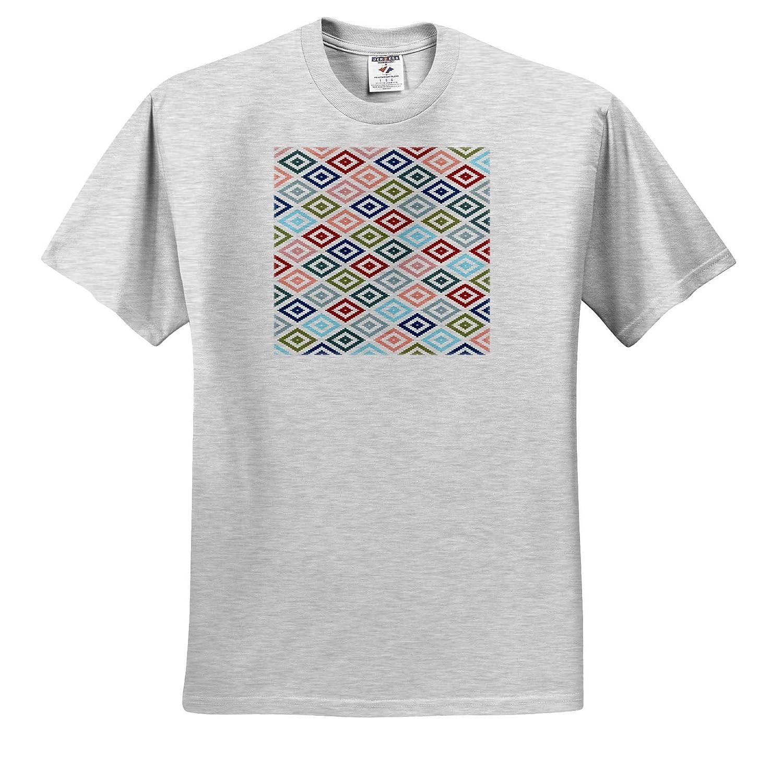 Geo Pattern Acrylic Art Multicolored Diamond Shapes Granny Pattern v1 3dRose Taiche Adult T-Shirt XL ts/_308661