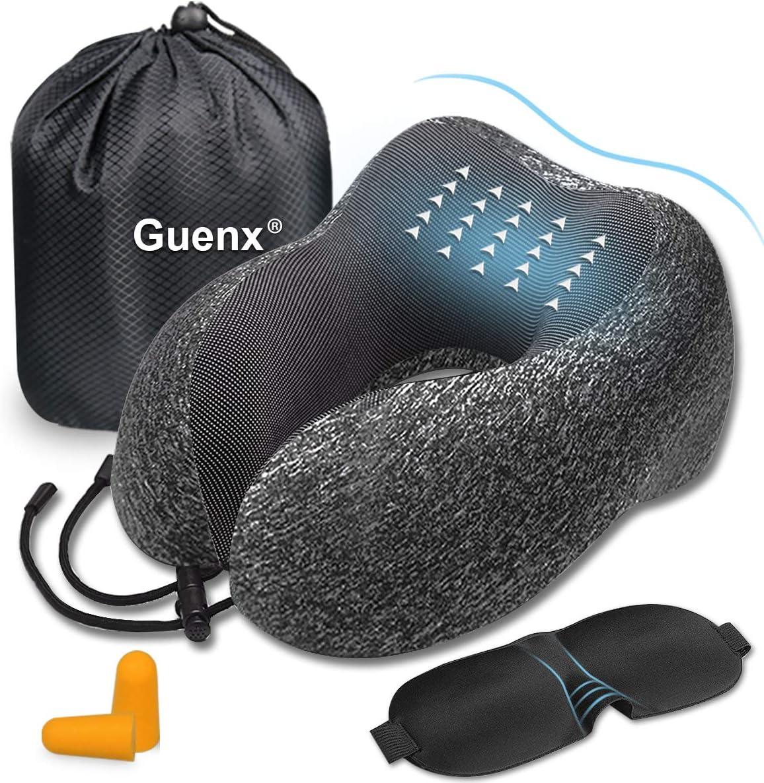 Guenx Almohada de Viaje, Avión Almohada Cervical | Almohada Ortopédica Cervical | Cojin Travel Pillow Reposa Cabezas, Kit para Dormir, estándar para avión y hogar (Gray)