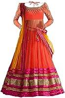 Sky World Girls' Net Orange Lehenga Choli (Sw_Kids_552-1_Free Size)