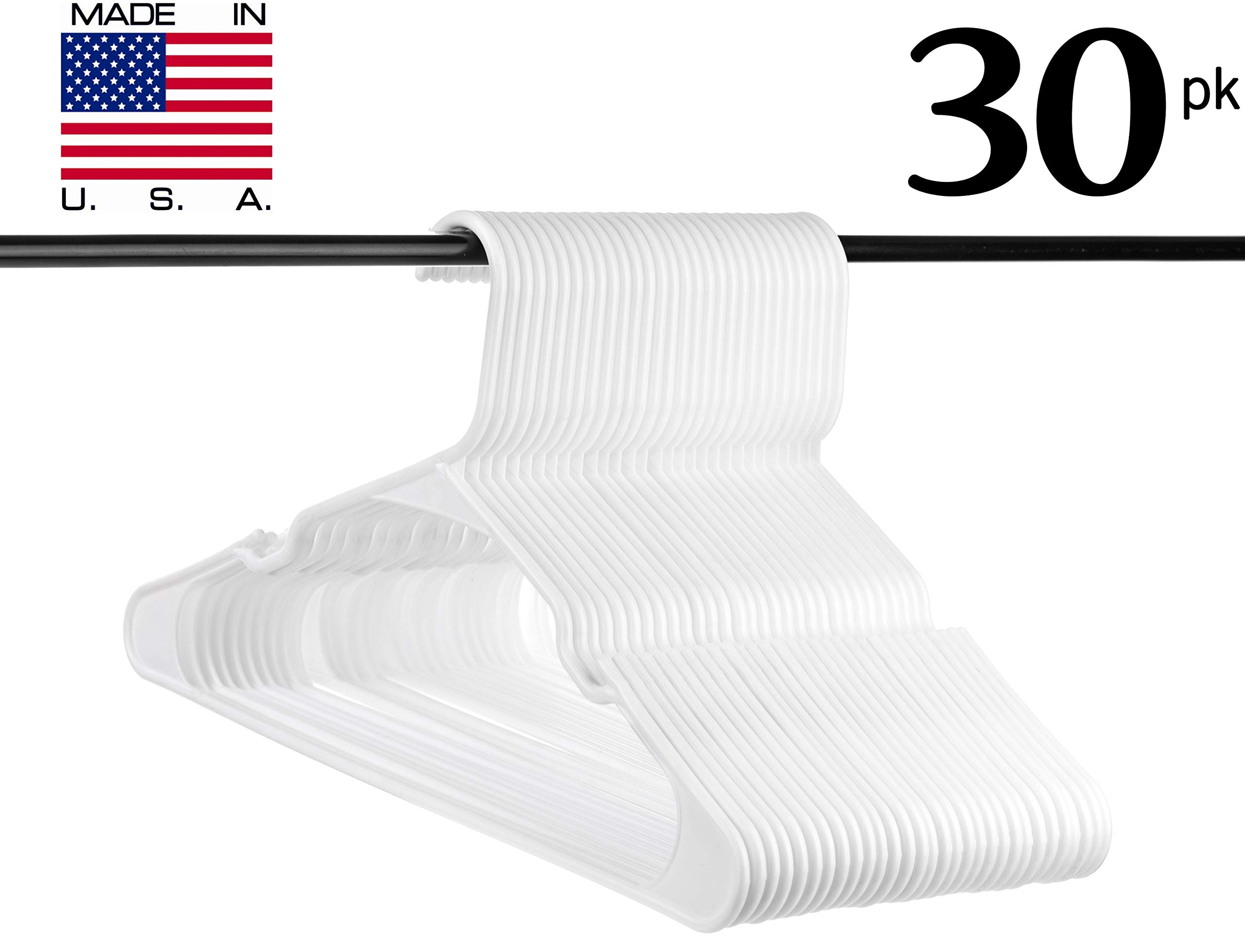 Neaties USA Made White Plastic Hangers with Notches, 30pk by Neaties