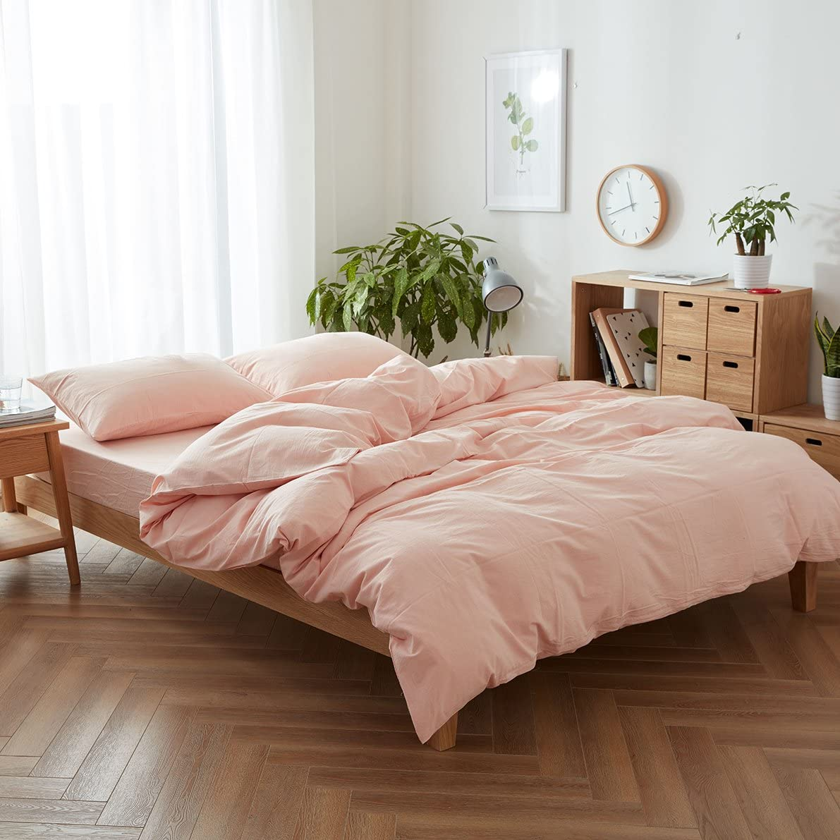 FACE TWO FACE 3-Piece Duvet Cover Queen,100% Washed Cotton Duvet Cover,Ultra Soft and Easy Care,Simple Style Bedding Set (Queen, Pink)