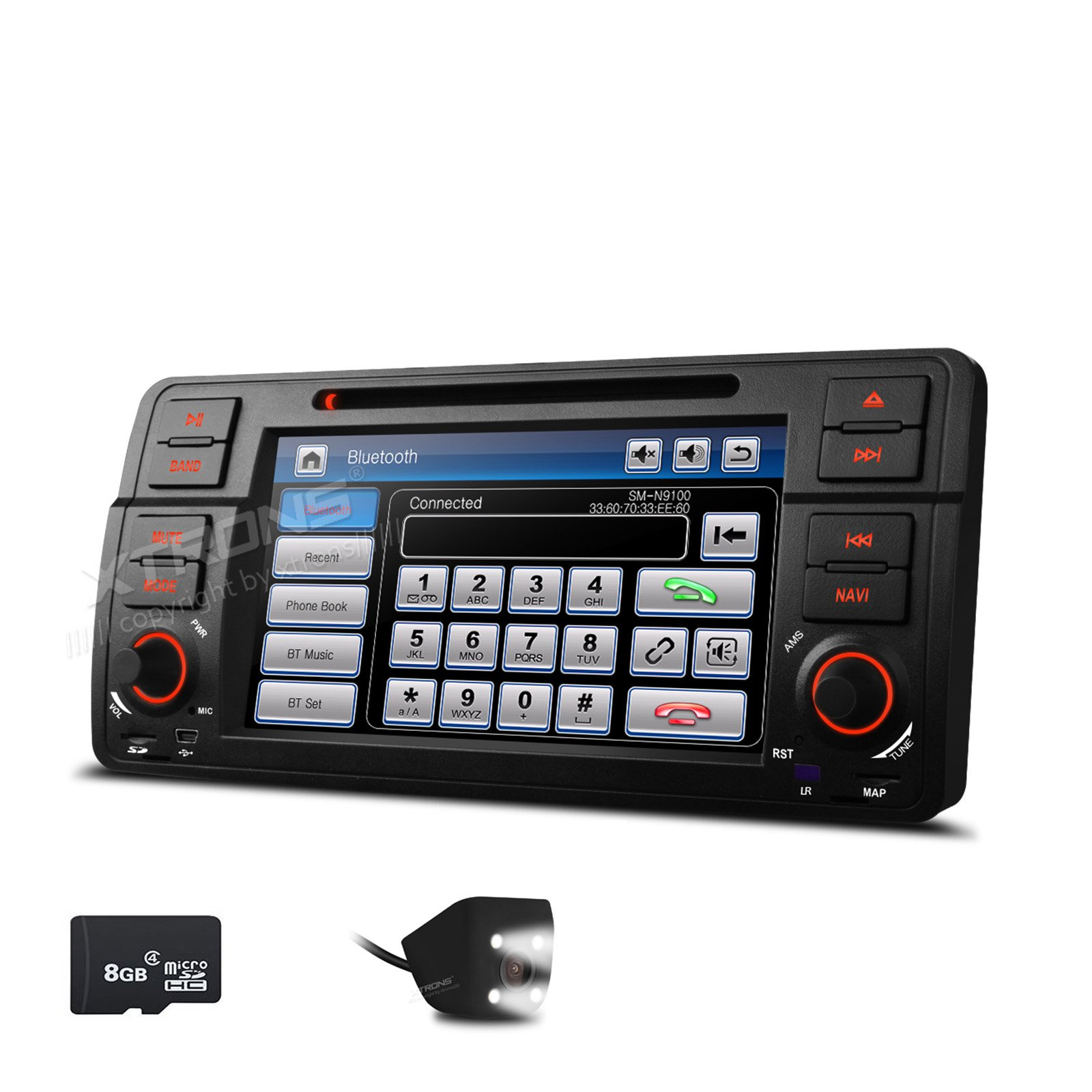 XTRONS 7 Inch HD Digital Touch Screen Car Stereo Radio In-Dash DVD Player with GPS Navigation CANbus Screen Mirroring Function for BMW E46 318 320 325 Reversing Camera Included