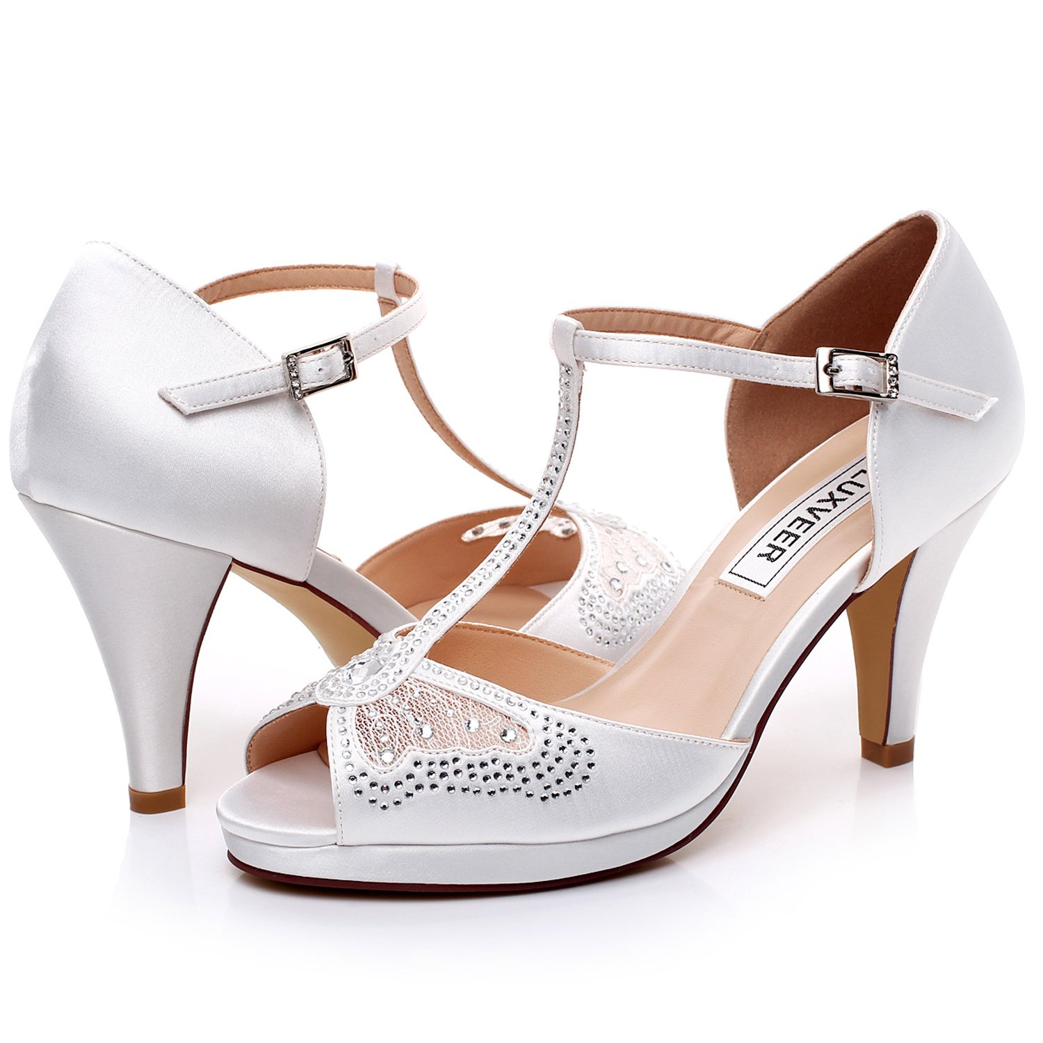 LUXVEER Wedding Sandals Heels for Women ,Silver Rhinestone and Lace Butterfly - Heels 3.5 inch-HK-0192C-Ivory-EU40 Wedding Shoes by LUXVEER (Image #6)