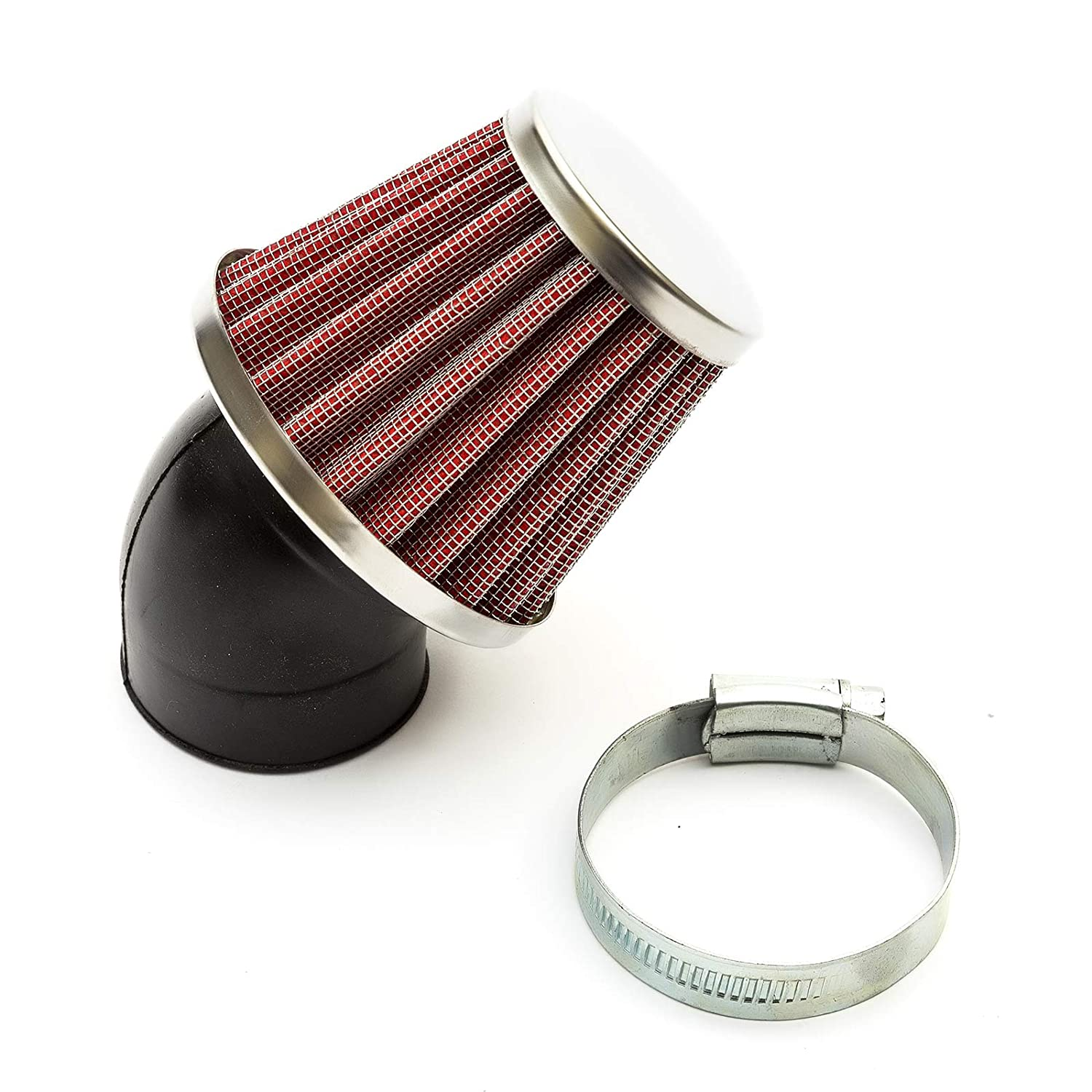42mm Pitbike Air Filter Red Performance High flow Mushroom Style Angled Neck