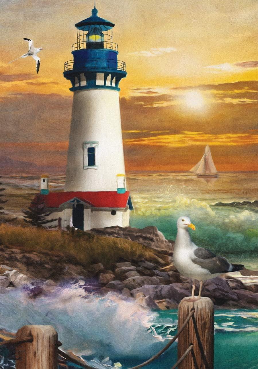 Yyqing Sunset Lighthouse Summer Garden Flag Nautical 12.5