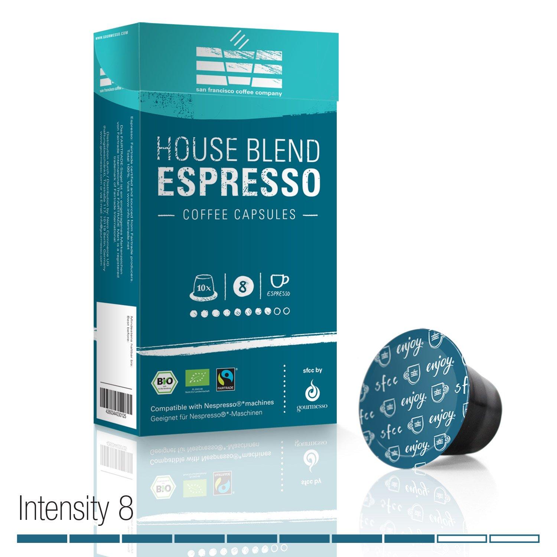 Gourmesso SFCC House Blend Espresso - 10 Nespresso Machine Compatible Coffee Capsules - Organic and Fair