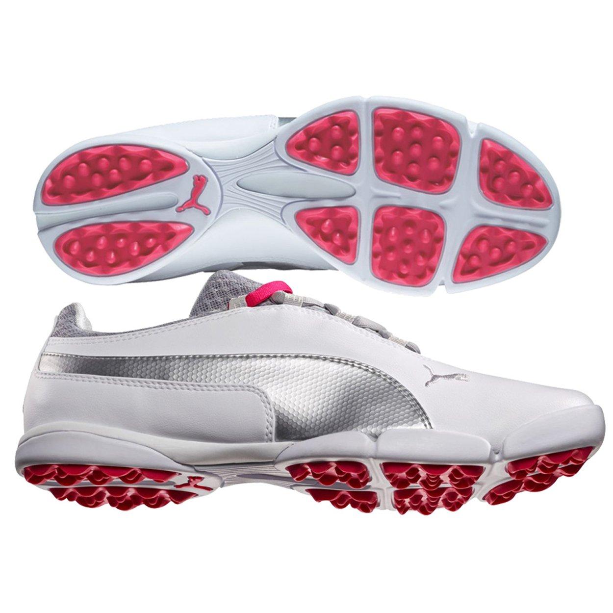 PUMA Women's Sunnylite Golf Shoe Spikeless, White Silver/Raspberry, 9.5 M US