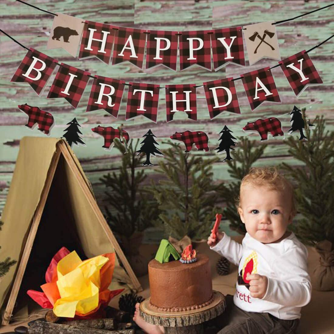 Camping Birthday Party Decorations,Happy Birthday /& Woodland Bear Banner Buffalo Plaid maxfor Lumberjack Birthday Party Banner,Lumberjack 1st