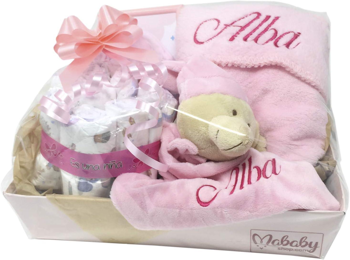 MabyBox Happy Dreams Canastilla Beb/é Rosa Set Recien Nacido |Canastilla Personalizada Cesta bebe Reci/én Nacido