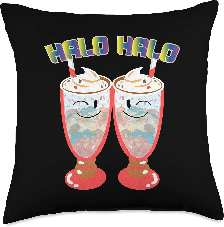 Philippines Filipino Popular Food Throw Pillows Halo Filipino Dessert Ice Cream Throw Pillow, 18x18, Multicolor
