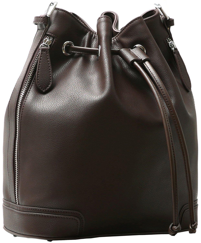 Kenoor Leather Bucket Bag Handbags Crossbody Shoulder Bag Retro Tote Drawstring Style for Women (Coffee)
