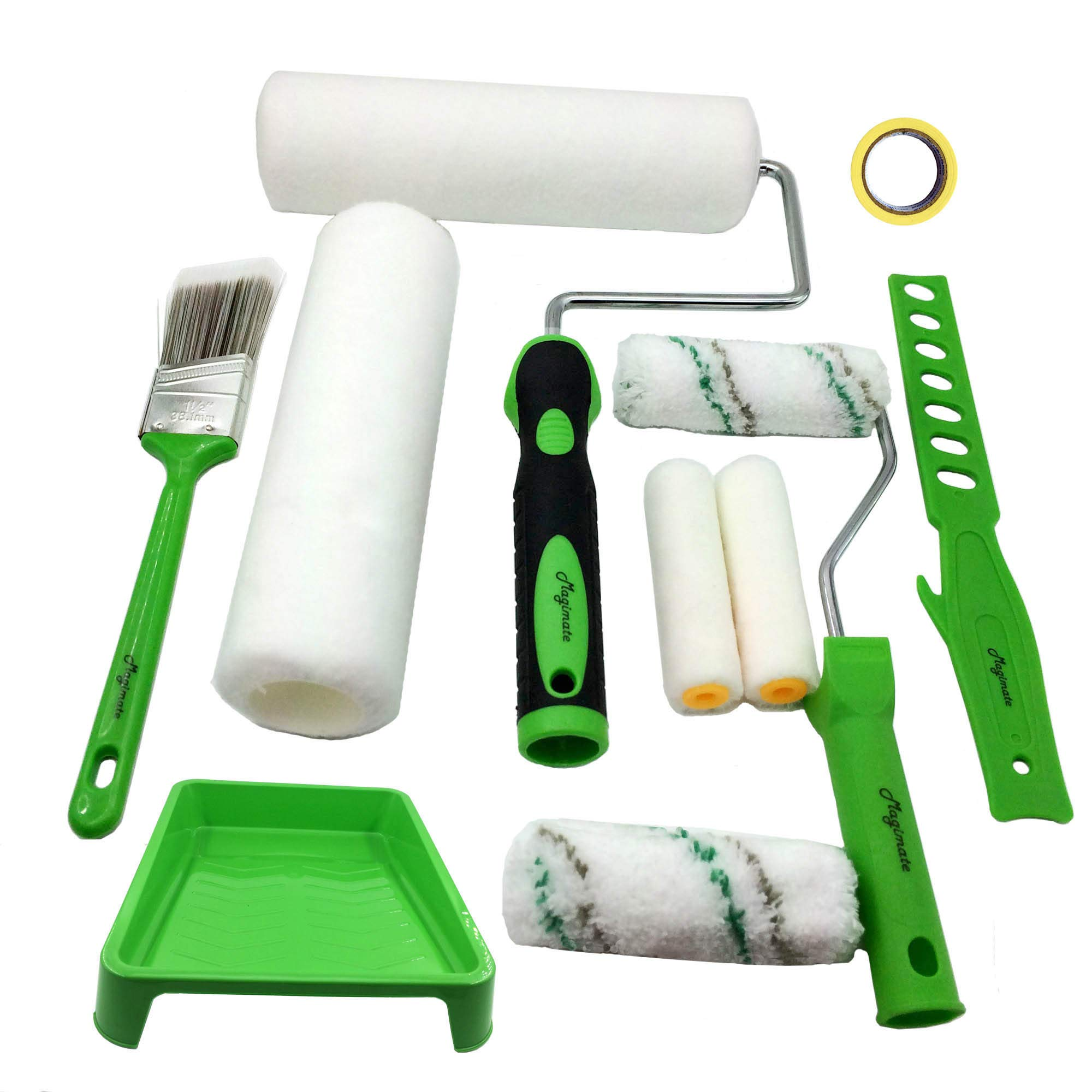 Magimate Paint Roller Kit 9 Inch 4 Inch Roller Set with Frames, Cover Refills, Angled Brush, Paint Stick, Masking Tape and a Durable Paint Tray for Professional and DIY Indoor and Outdoor Painting by Magimate