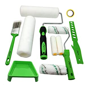 Magimate Paint Roller Kit 9 Inch 4 Inch Roller Set with Frames, Cover Refills, Angled Brush, Paint Stick, Masking Tape and a Durable Paint Tray for Professional and DIY Indoor and Outdoor Painting