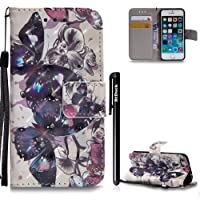 BtDuck Wallet Case for iPhone5 iPhone5S iPhoneSE Leather Wallet Case Flip Folio Buffer Case Cover Anti-Slip Shockproof Stand Flip Stand Phone Shell Protector Kickstand Function
