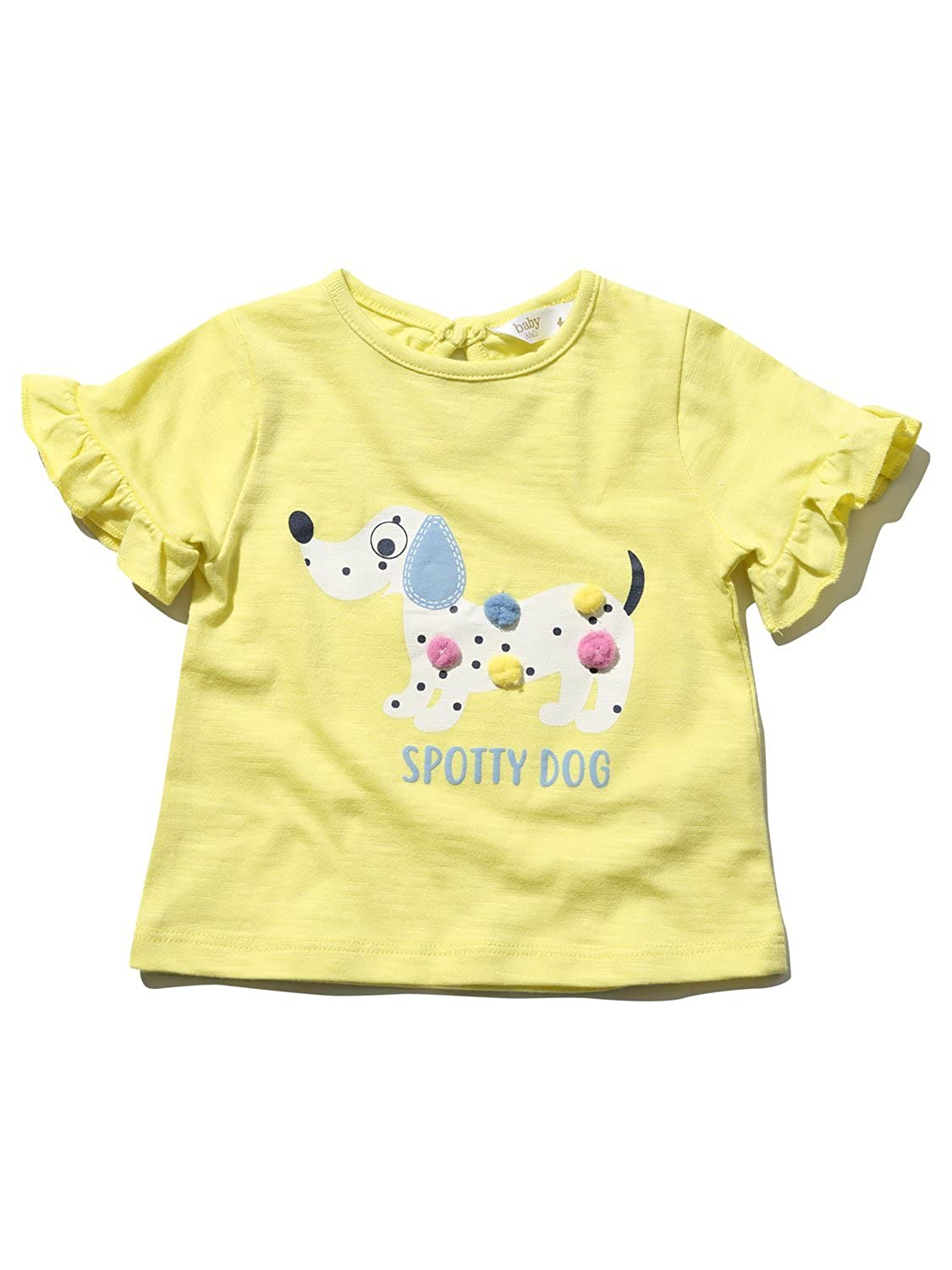 M& Co Baby Girl 100% Cotton Yellow Short Sleeve Frill Trim Dalmation Dog Pom Pom T-Shirt