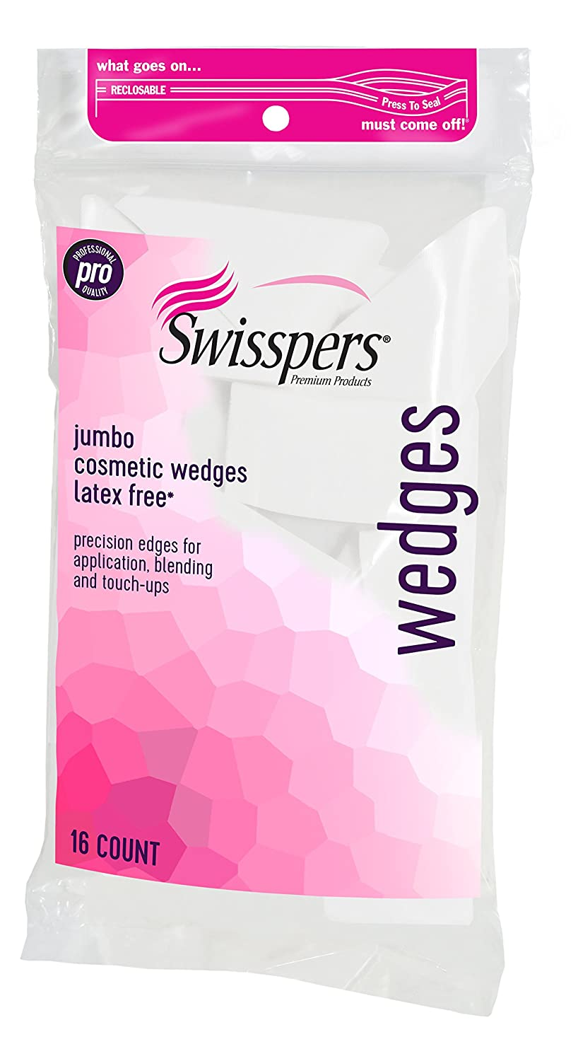 Swisspers Premium Pro Cosmetic Wedges, Latex-Free Makeup Wedge, Jumbo Size, 16Count Bag