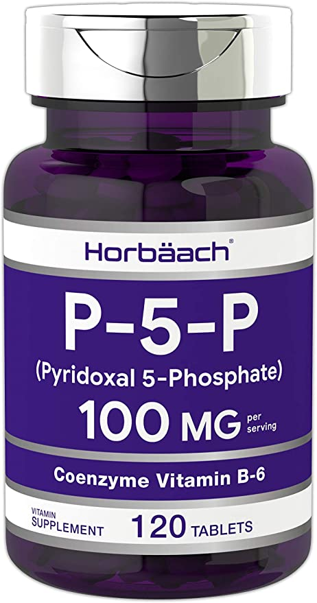 P5P Activated Vitamin B6 100mg   120 Tablets   Vegetarian Supplement, Non-GMO, Gluten Free   Pyridoxal 5 Phosphate   Coenzyme B6   by Horbaach