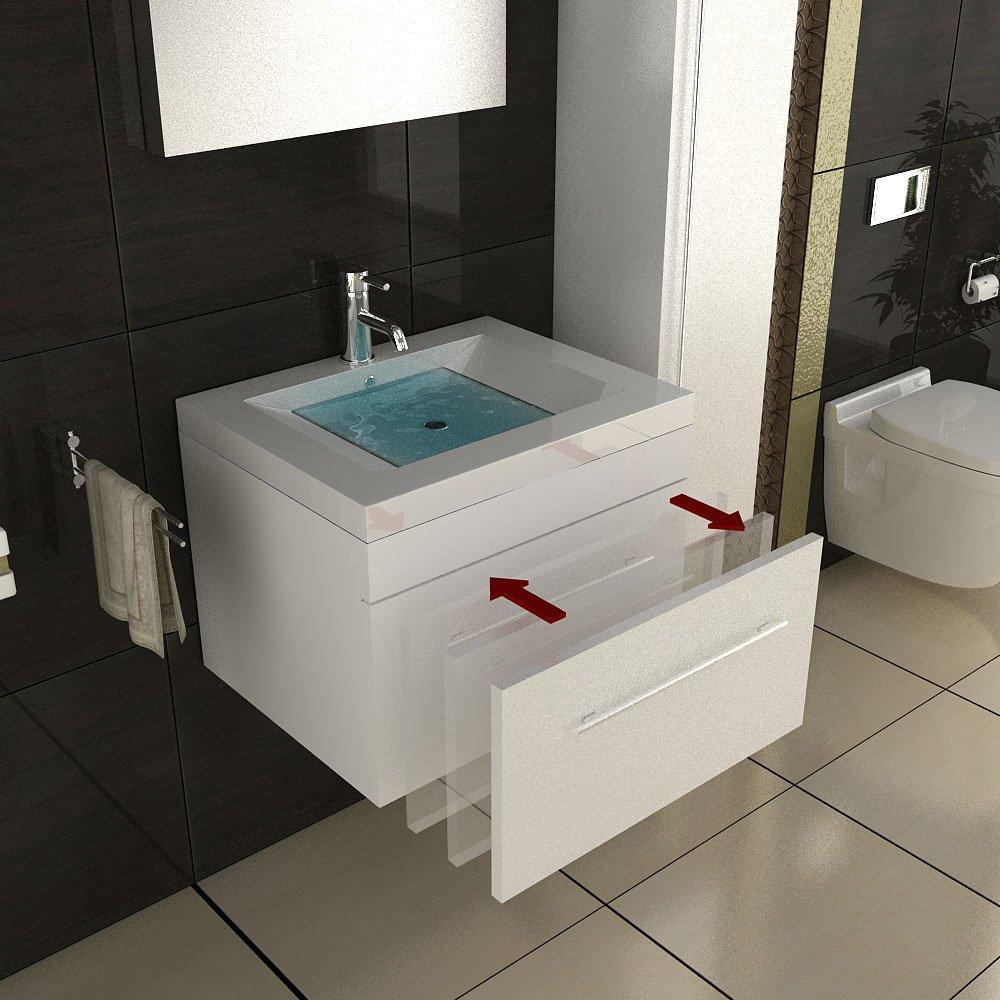 Waschbecken eckig mit unterschrank  Weiss Badmöbel / Waschbecken mit Unterschrank ...