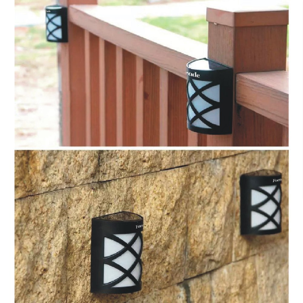Fomatrade Solar Fence Lights Wall Mount LED Garden Light Lamp Outdoor Lightings For Deck Post Stairs Steps Gutter Patio Pond Pool, 4 Pack(warm light)