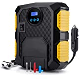 Air Compressor Pump,12V Car Tire Inflator Auto Pumping Inflatables 150PSI Digital Display Dual Cylinder Fast Tire Pump with Emergency LED Lighting for Car,Bicycle,Ball Dual Cylinder