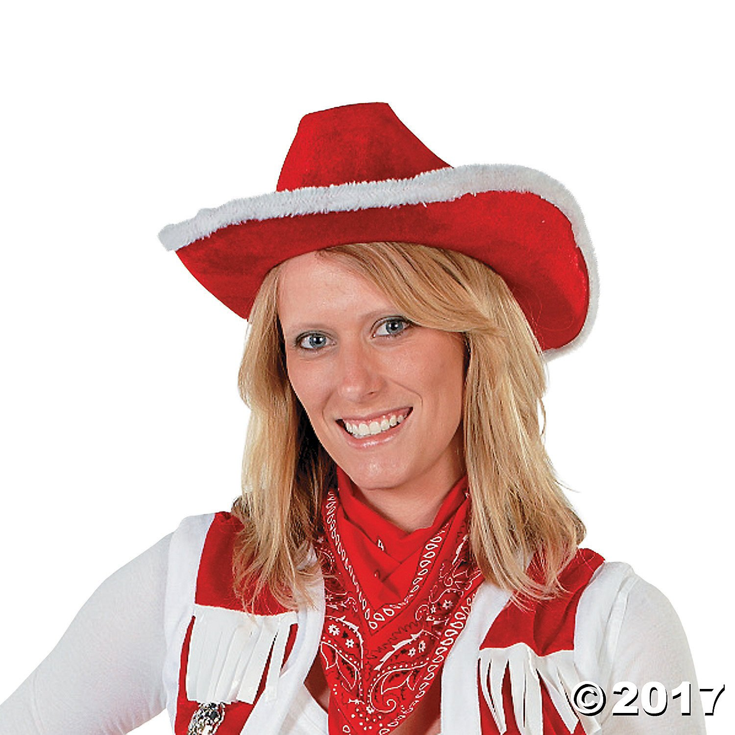 RED COWBOY XMAS HAT WITH WHITE FUR TRIM