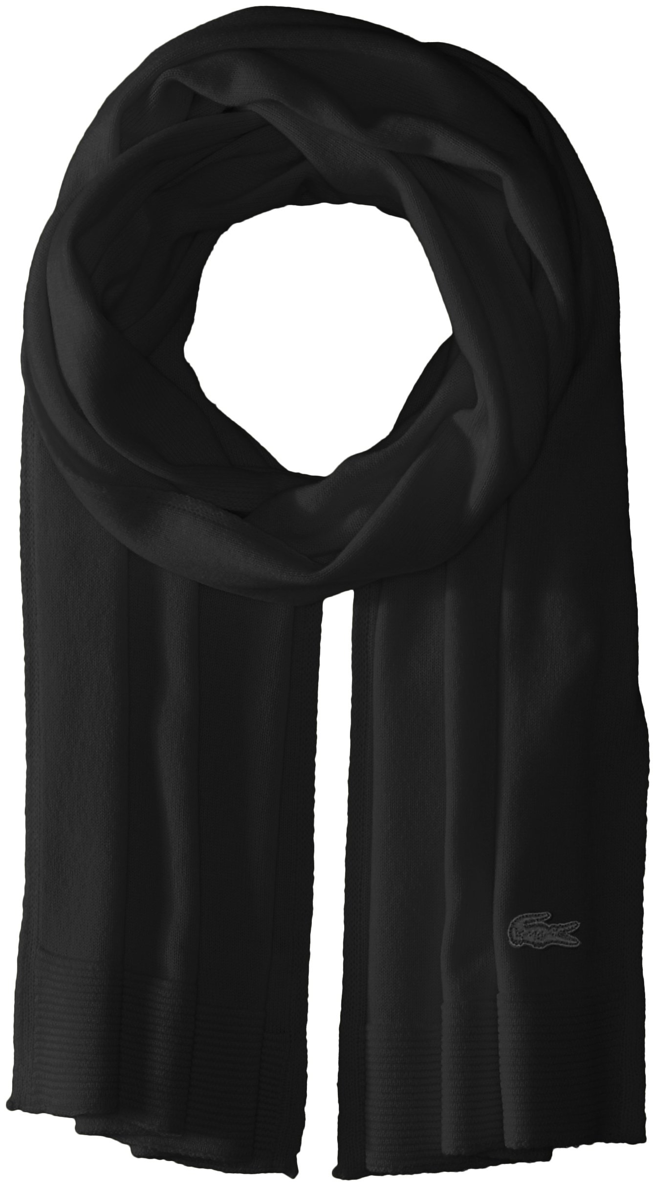 Lacoste Women's solid Fine Jersey Cashmere Scarf, black, One Size