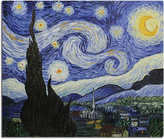 Fokenzary Hand Painted Oil Painting on Canvas Vincent Van Gogh Classical Starry Night Reproduction Wall Decor Framed Ready to Hang