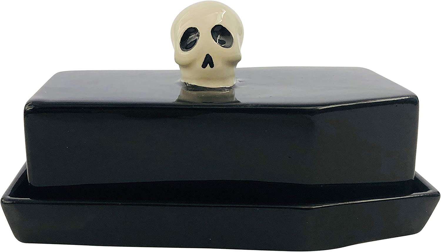 Boston Warehouse Coffin Shaped with Skull Handle Covered Butter Dish, Standard, Black