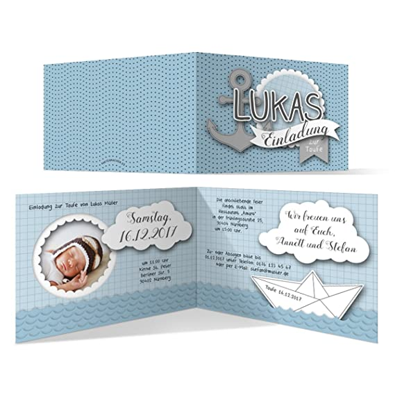Taufe Einladungskarten 30 Stück Origami Anker In Blau Taufeinladung Taufkarten