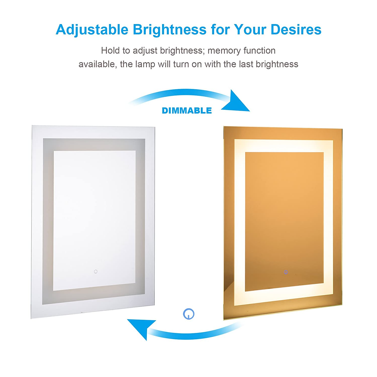 Co Z Modern Led Bathroom Mirror Dimmable Rectangle Lighted Wall