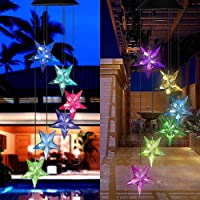 Color Changing Solar Power Wind Chime Blue Star LED Wind Chime Wind Mobile Portable Waterproof Outdoor Decorative…