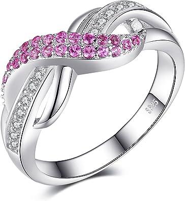 JewelryPalace F/ür Immer Liebe Infinity Rosa Saphir Jahrestag Ring Vertrauensring Damen Ring 925 Sterling Silber Gr/ö/ße 51 To 59