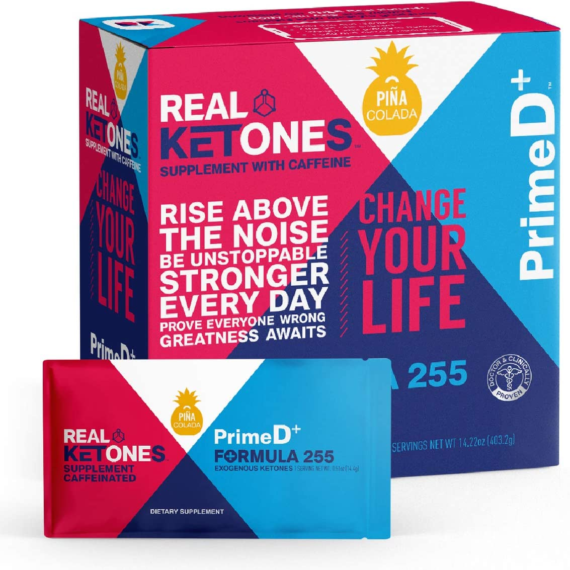 Real Ketones Prime D Pina Colada Caffeinated Exogenous Ketone Supplement with BHB and MCT Combo for Ketone Boost, Energy and Focus