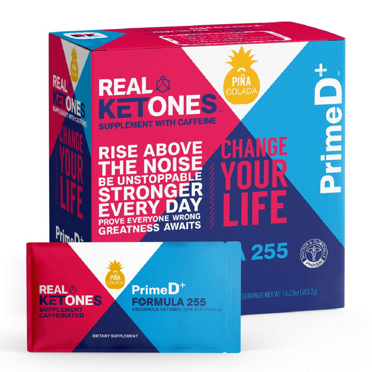 Real Ketones Prime D+ Pina Colada Caffeinated Exogenous Ketone Supplement with BHB and MCT Combo for Ketone Boost, Energy and Focus by Real Ketones
