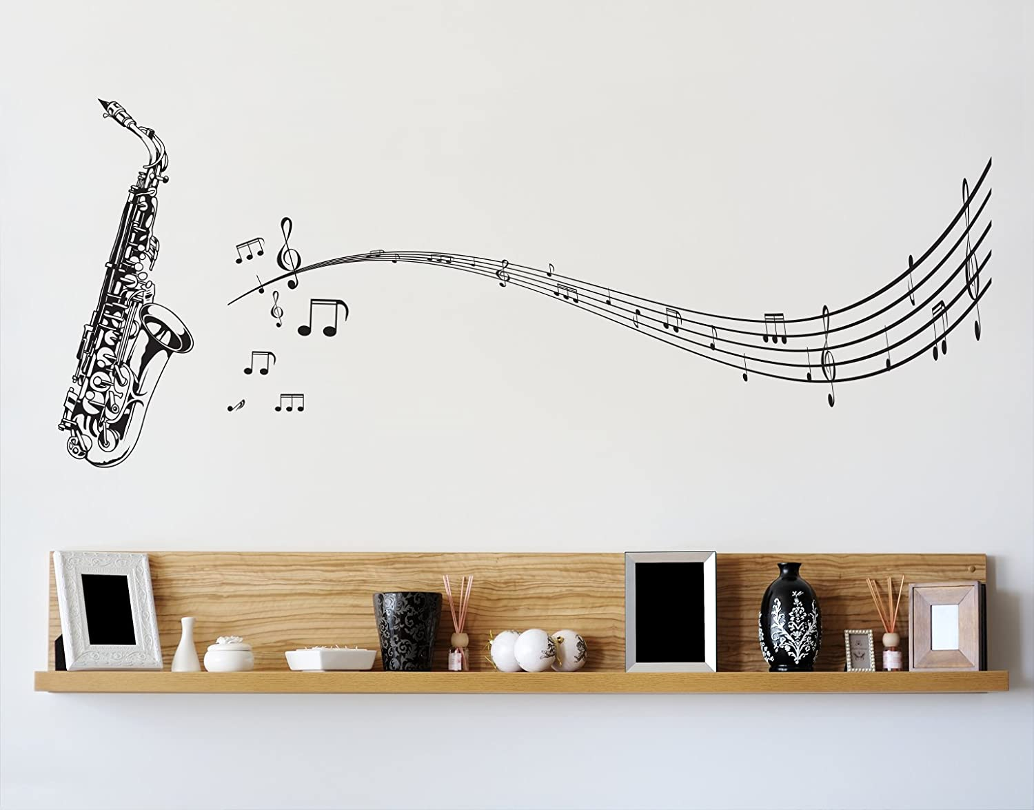 Amazon stickerbrand music vinyl wall art saxophone with music amazon stickerbrand music vinyl wall art saxophone with music notes wall decal sticker black 72 x 31 easy to apply removable automotive amipublicfo Gallery