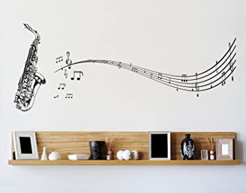 Stickerbrand Music Vinyl Wall Art Saxophone With Music Notes Wall Decal  Sticker   Black, 72u0026quot