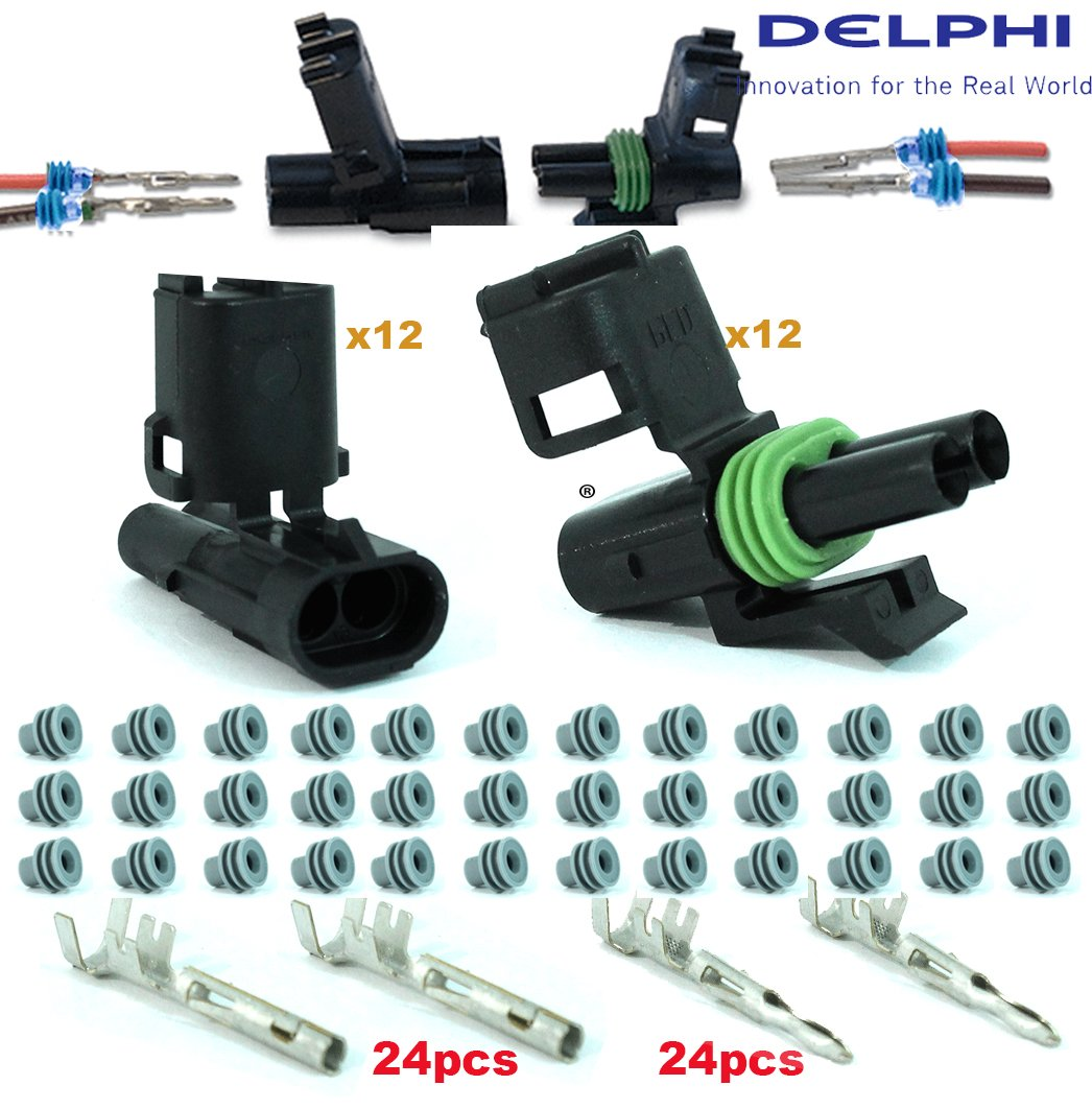 Delphi Packard 12 Completed Set (2 Circuits) Weatherpack, Waterproof, Terminal Kit 14, 16 AWG