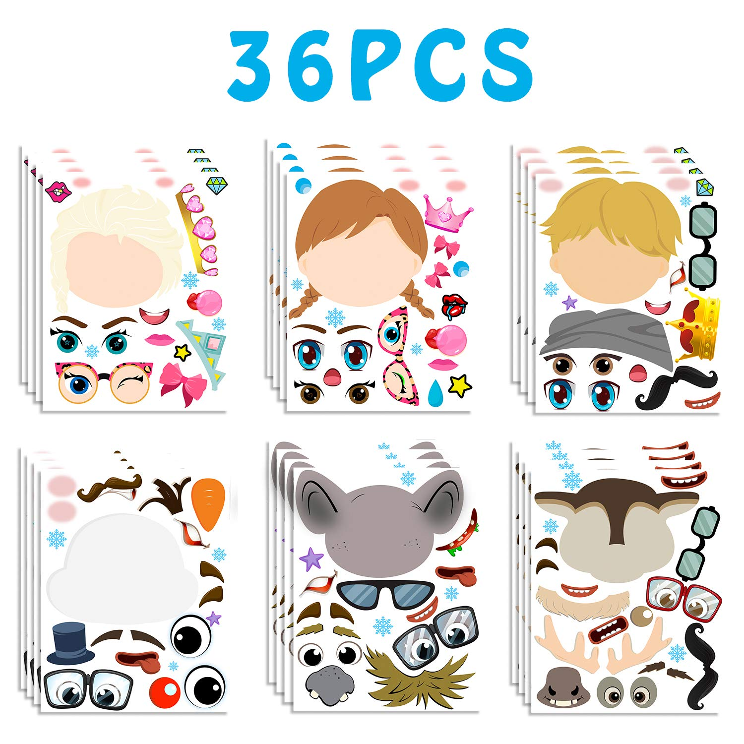 MALLMALL6/ 36Pcs Frozen Make/ a/ Face/ Stickers Princess Party/ Favors/ Games Frozen Themed Birthday Party Supplies Princess Sticker Snow Queen Party Decorations Elsa Anna Dress Up DIY/ Crafts for Kids