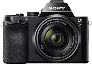Sony Alpha ILCE-7K - Cámara Evil (Sensor Full Frame de 35 mm, 24.3 MP, procesado en 16 bits, Visor OLED, vídeo Full HD, Wi-Fi y NFC, Objetivo 28-70 mm f/3.5-5.6 OSS), Color Negro