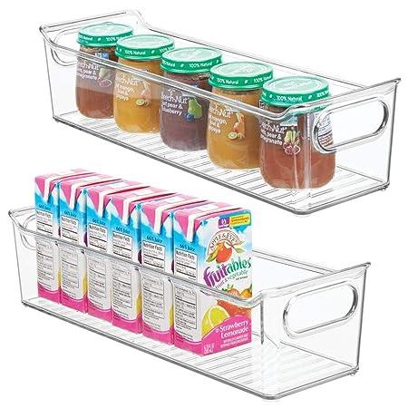 Contenedor pl/ástico grande con pr/ácticas asas y sin tapa Caja para juguetes o pa/ñales en pl/ástico libre de BPA transparente mDesign Juego de 4 cestas organizadoras para cuarto de beb/é