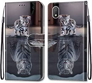 Ougger Cover for Alcatel 1B 2020 Case, Leather Case Flip Folio Book Case Wallet Cover with Protective ID Credit Card Slots & Kick Stand Holster for Alcatel 1B 2020, Cat to Tiger