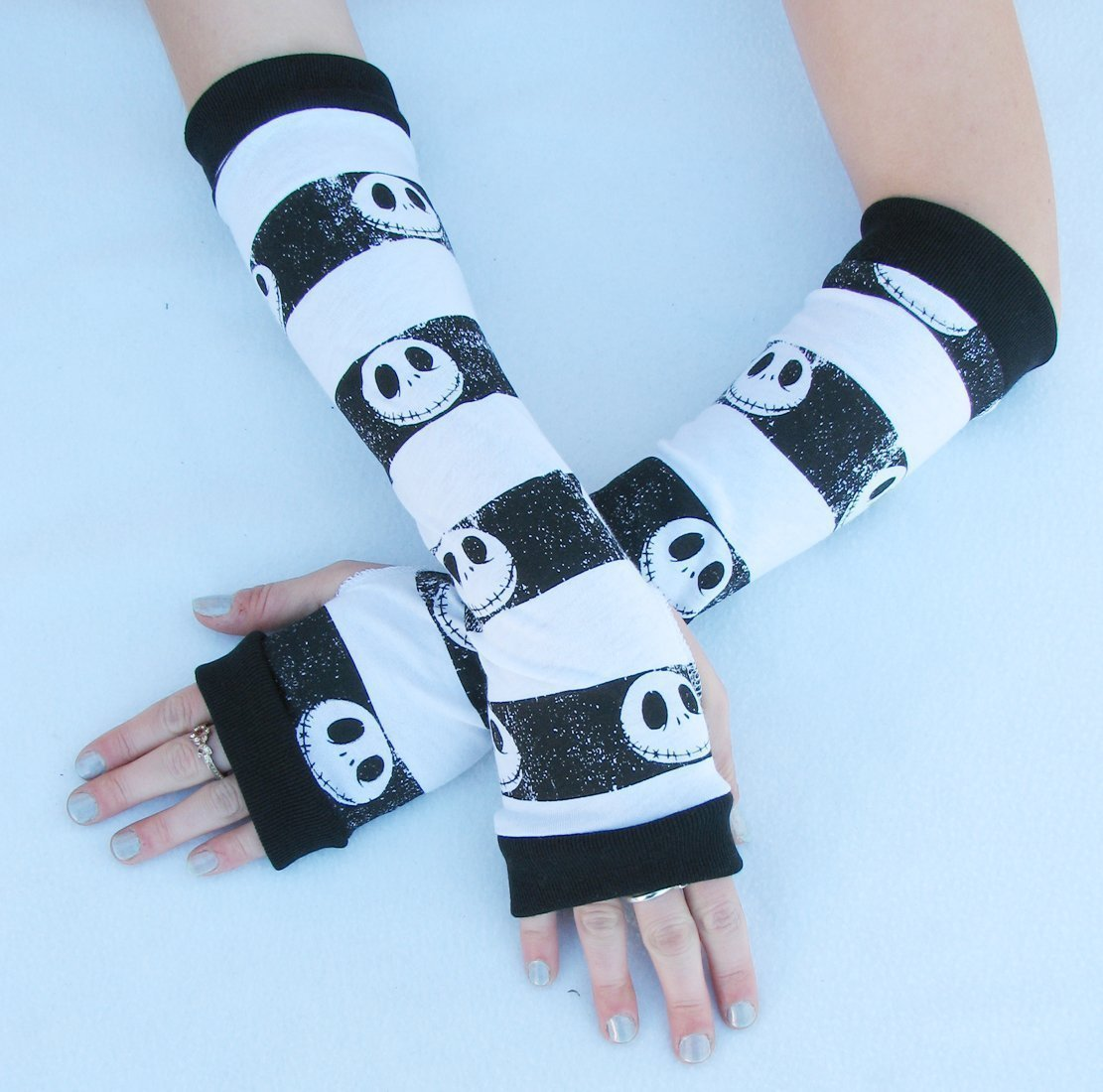 Jack Skull Arm Warmers Stripes Gloves Nightmare Before Christmas