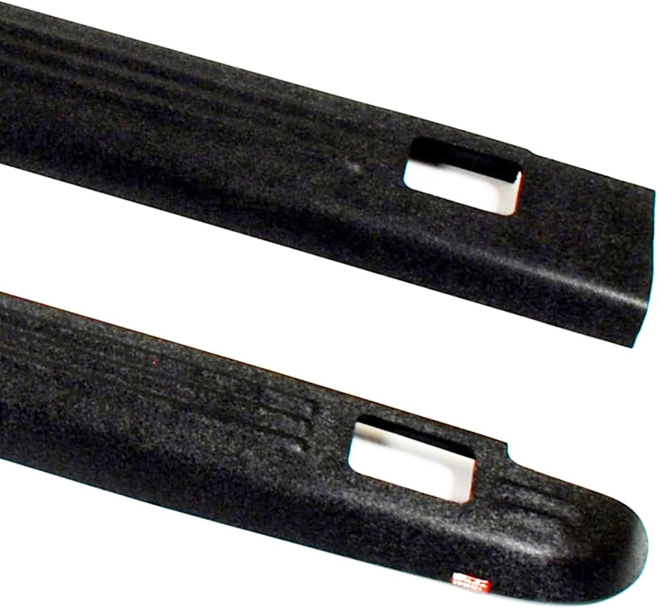 Set of 2 Wade 72-01111 Truck Bed Rail Caps Black Ribbed Finish with Stake Holes for 1988-1998 Chevrolet GMC 1500 2500 3500 with 6.5ft Bed