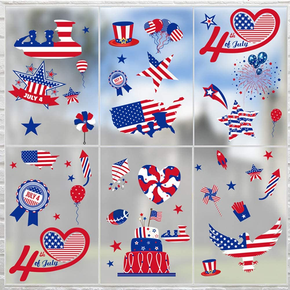 6 Sheets 4th of July Window Clings, Patriotic Gnome Stickers USA Wall Decals Independence Day Stars Stripes Decor, Spring Summer Holiday Home Kitchen Office Fridge Decorations Party Supplies