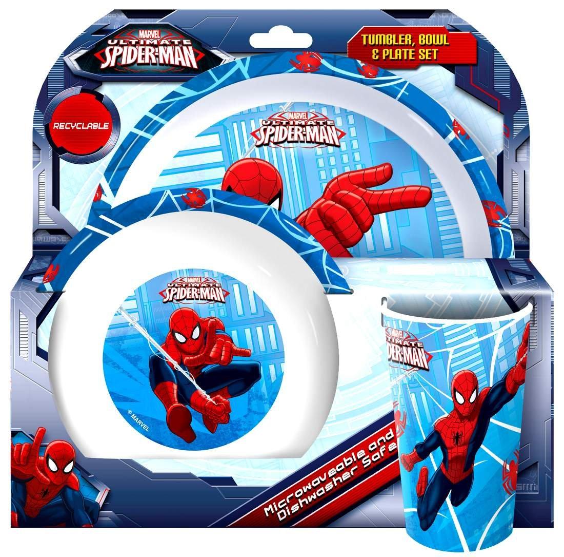 Bowl and Plate Tumbler Tableware Marvel Ultimate Spider-Man 3-Piece Dinner Set