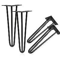 ybaymy 4Stück–73cm Stahl roh Haarspange Tischbeine für Möbel Schreibtisch bench-black