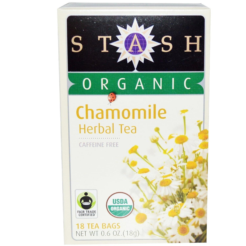 Stash Tea, Organic Chamomile Herbal Tea, Caffeine Free, 18 Tea Bags, 0.6 oz (18 g) - 2PC