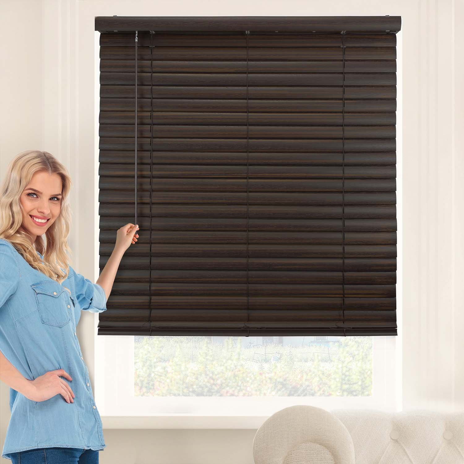 Chicology VNBDW4764 Cordless Vinyl Blind, 2 Printed Dark Walnut 47 W X 64 H