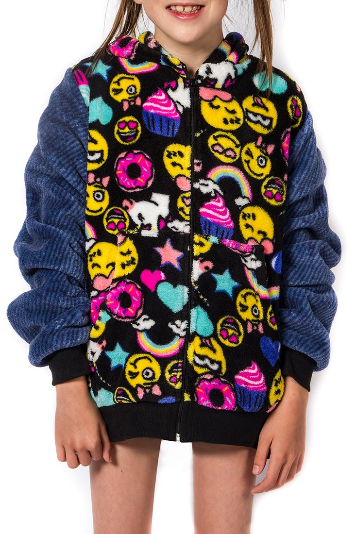 Girl's Peace Love & Fashion Emoji Hoodie - Black/Smiley (Large) by Peace Love & Fashion (Image #1)