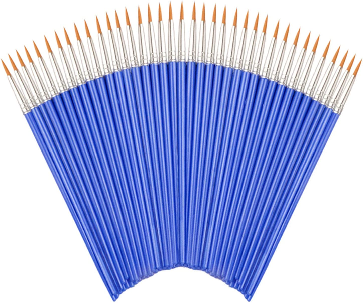 Round Paint Brushes,50 Pcs Art Paintbrushes for Kids/ Artists/Painters/Beginners/Students ,Short Plastic Handle,Nylon Hair Brushes for Acrylic Oil Watercolor Art Painting